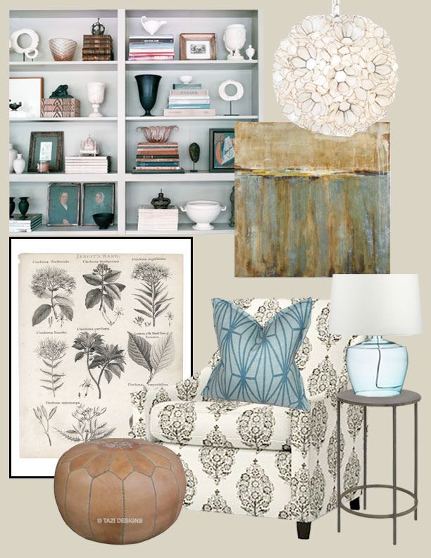 I love this board...particularly the dusty blue and Moroccan pouf....but which room? This is most likely in the 10 year plan for my office...