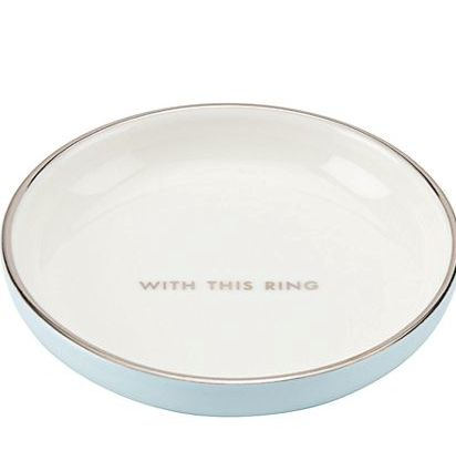 'with this ring' little blue dish
