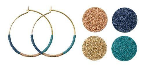 Til smykkesættet med øreringe og halskæde er der brugt følgende farver:  delica mat sand DB0389V delica mat midnatsblå DB0377V delica kølig guld DB0034V delica mat mørk turkisblå DB0798V