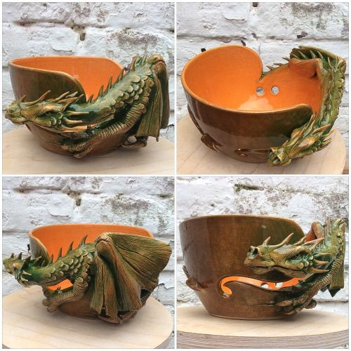 An old favourite in new colours. Dragon yarn bowl in green brown and burnt orange glaze. Made to order at earthwoolfire.etsy.com