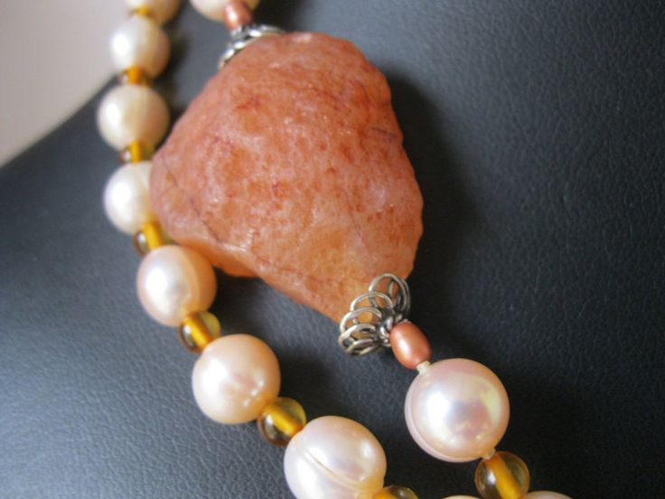 Long Pearl and AmberApricot Carnelian and by JulleenJewels on Etsy