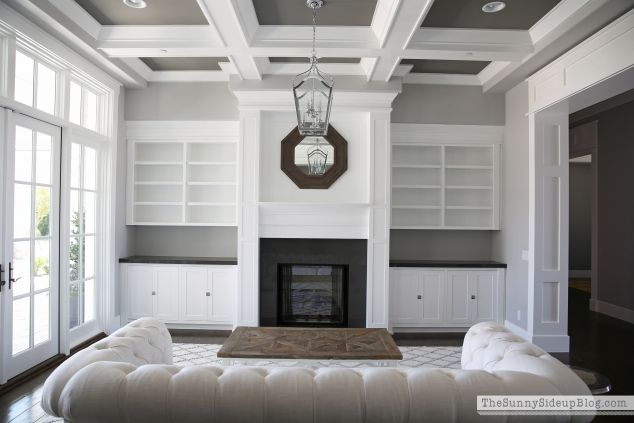 House Tour - The Sunny Side Up Blog ---  I like the darker ceiling with the lighter gray walls.  Very pretty.  The crown molding is amazing.