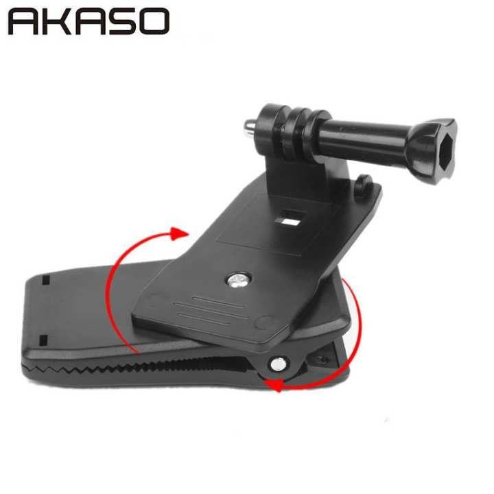 Akaso 360 Degree Rotation Backpack Hat Clip Mount Clamp For Gopro Hero 5 3 4 Sessions Sjcam Sj4000 Xiaomi Yi 4k Go Pro Accessory Gopro Gopro Hero Action Camera