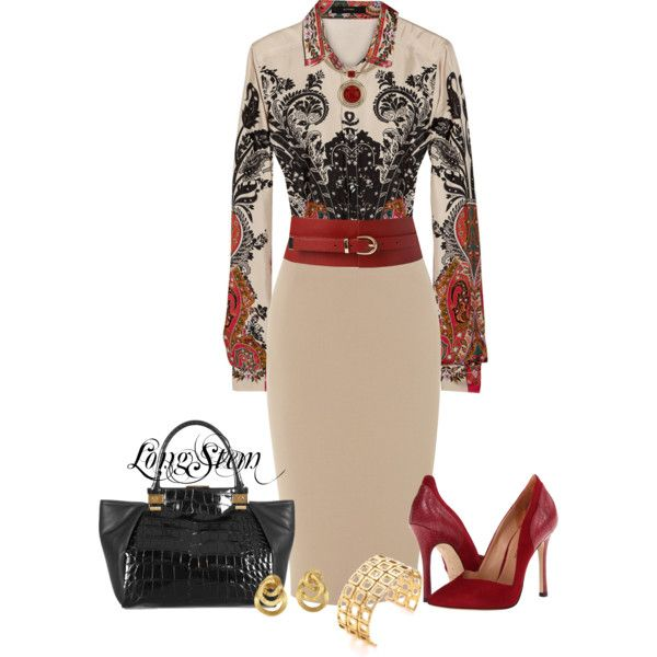 A fashion look from December 2013 featuring Etro blouses, Sigerson Morrison pumps and Lanvin tote bags. Browse and shop related looks.