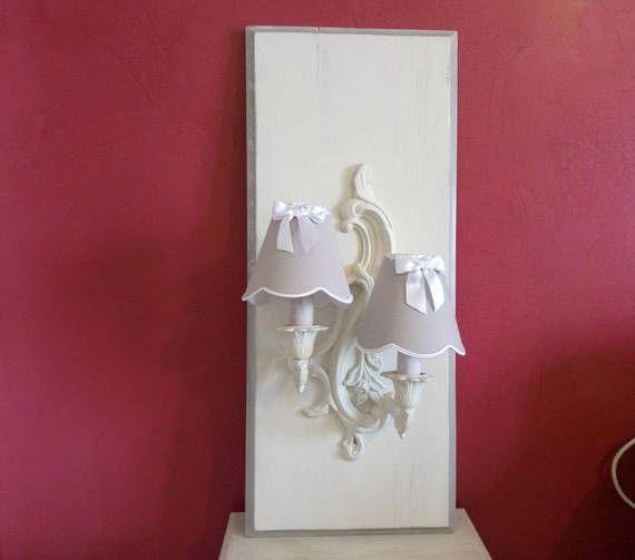 CADRE APPLIQUE LUMINEUSE murale shabby patiné blanc antique