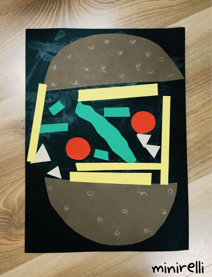 Don't these look like proper little works of art, as well as good enough to eat? You may need: Black construction paper (background) Red, yellow, green A4 paper (to cut into shapes) Bro…