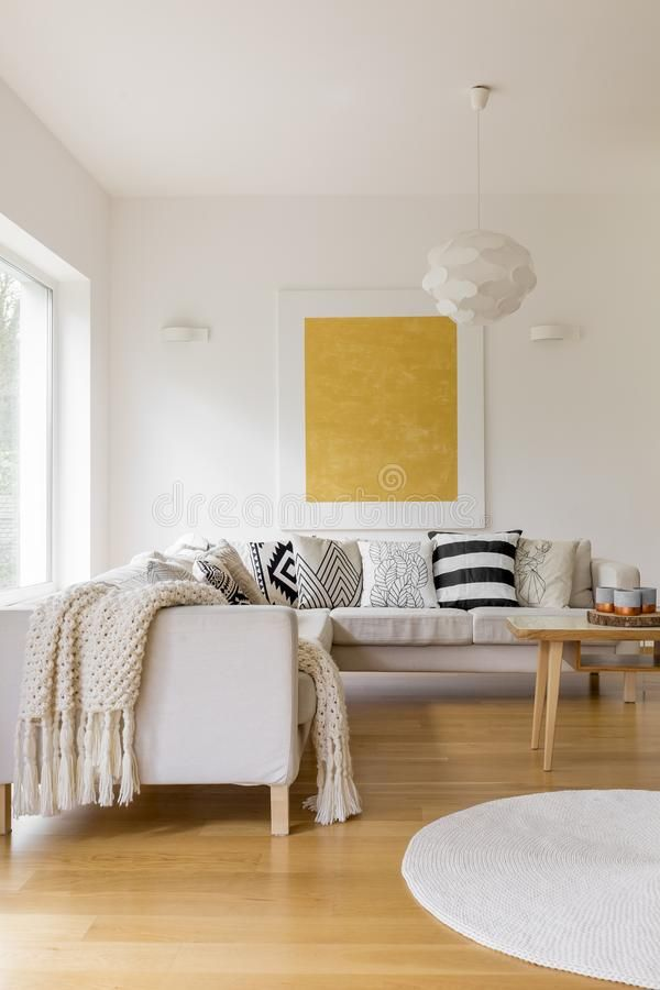 Download Hygge style living room stock photo. Image of pattern - 99522602