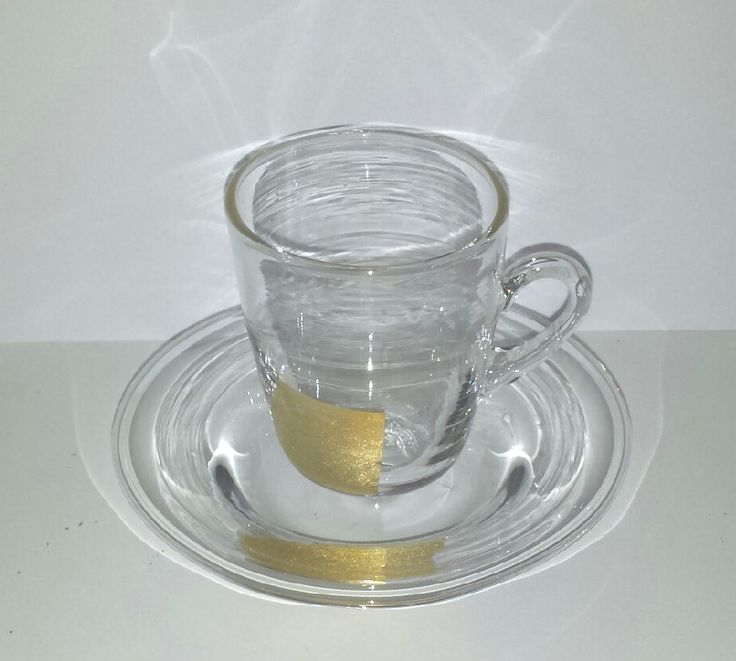 Specialdesign - Coffee cup and saucer with 24 K Gold pattern in the clear crystal. This is the prototype that we made to a corporate customer.