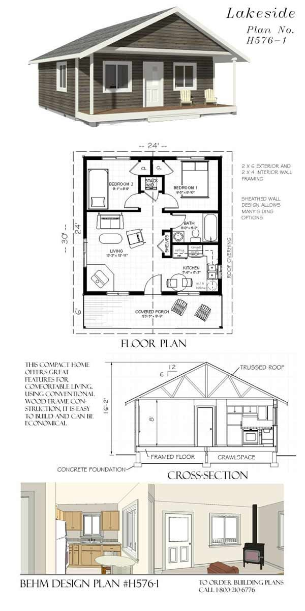 Lakeside Cottage #H576-1 (24' x 24' + 6' porch)  This compact home offers great features for comfortable living. Using conventional wood frame constructing, it is easy to build and can be economical. See more at www.behmdesign.com