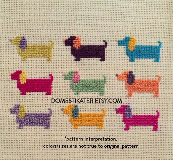 Kit Miniature Dachshund Dog Cross Stitch Chart