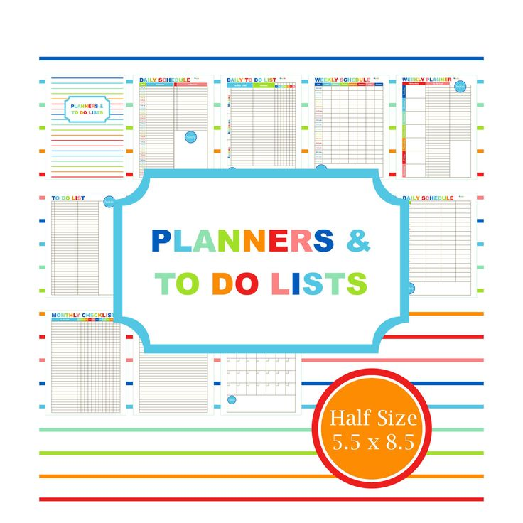 PLANNERS & TO DO printable planner to do list student planner family planner college planner calendar Half Page Half Size 5.5 X 8.5 (8.00 USD) by ThePrintBarn
