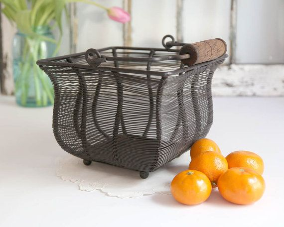 Vintage Wire Basket Black Wire Basket Country by TheHeirloomShoppe