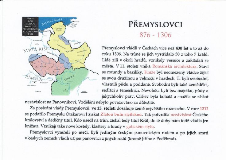 Přemyslovci (Kartičky o Historii - Dopuručuji zafoliovat a pak chronologicky ukládat do pořadače)