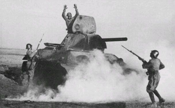 Russian tank crew surrendering to Romanian soldiers, circa 1942.