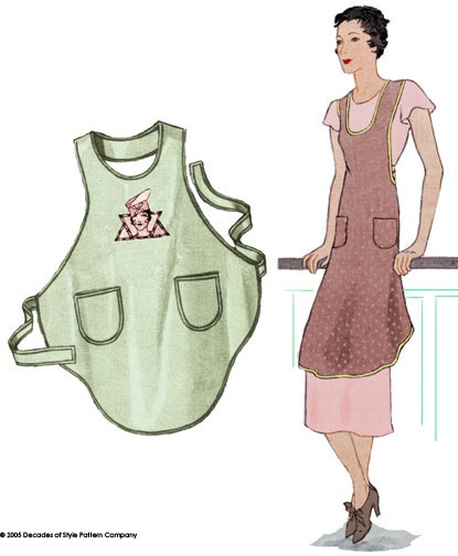 """Brilliant one-yard pattern! This wonderful apron from 1928 is the answer to the question, """"what can you make out of 1 yard of fabric?"""" It is cut on the bias and is designed to be made from a 36"""" square of fabric. The drape is great and it fits everyone. We played around with it and found we also liked the 2-yard reversible version."""