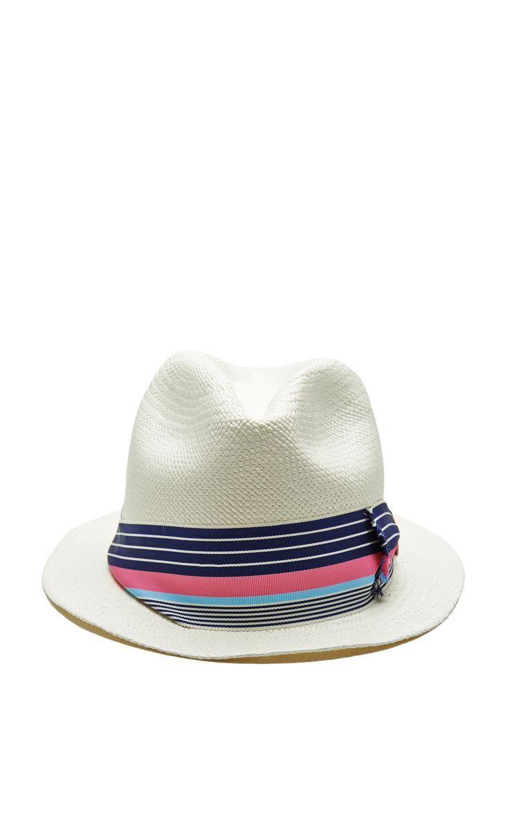 Adrian Frayed Bow Straw Hat in White by Sensi Studio - Moda Operandi