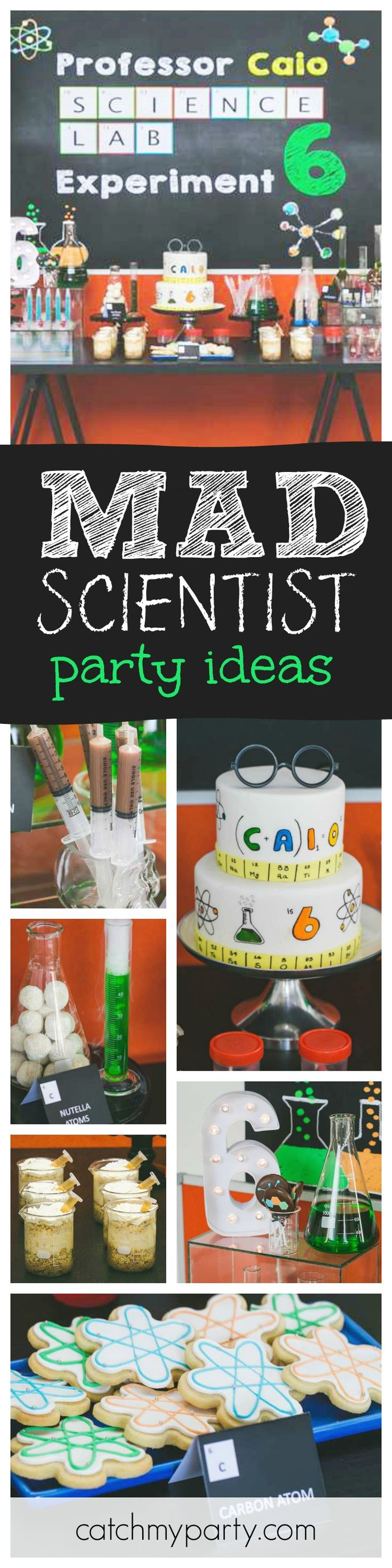 Check out the awesome science lab! This mad scientist party is a blast. The science inspired desserts are so much fun !