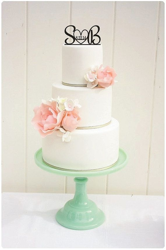 Custom Wedding Cake Topper Initials and Heart with Wedding Date