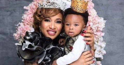 Nollywood actress and mother of one Tonto Dikeh took to her instagram page to pen a heartwarming mothers day message to herself.  The screen diva shared a photo of her son King and wrote;  Ladies and gentlemen give it up/Give a round of applause for my WOMB It bore this GorgeousnessThe reason I am been celebrated today. MY ACE MY HEARTBEAT MY GEE MY AFRICAN AMERICAN BUTTERSCOTTMY JUICYMNMY MINE MY KING I CELEBRATE YOU SIR