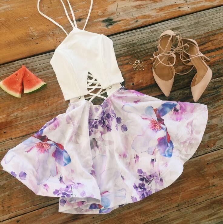 Sling Strapless Print Stitching Dress