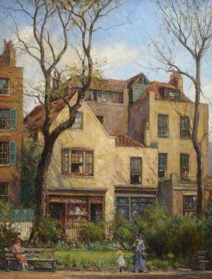 William Edward Fox, British painter (1872–1948):  Old Shops, Cheyne Walk
