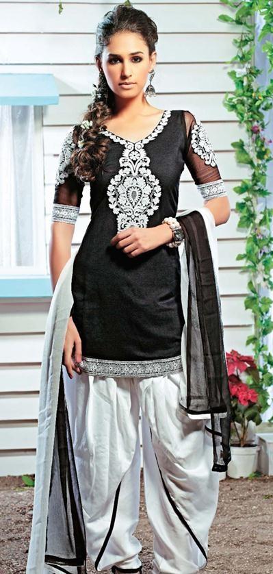 $58.38 #Black #Thread #Work #Panjabi #Salwar Kameez