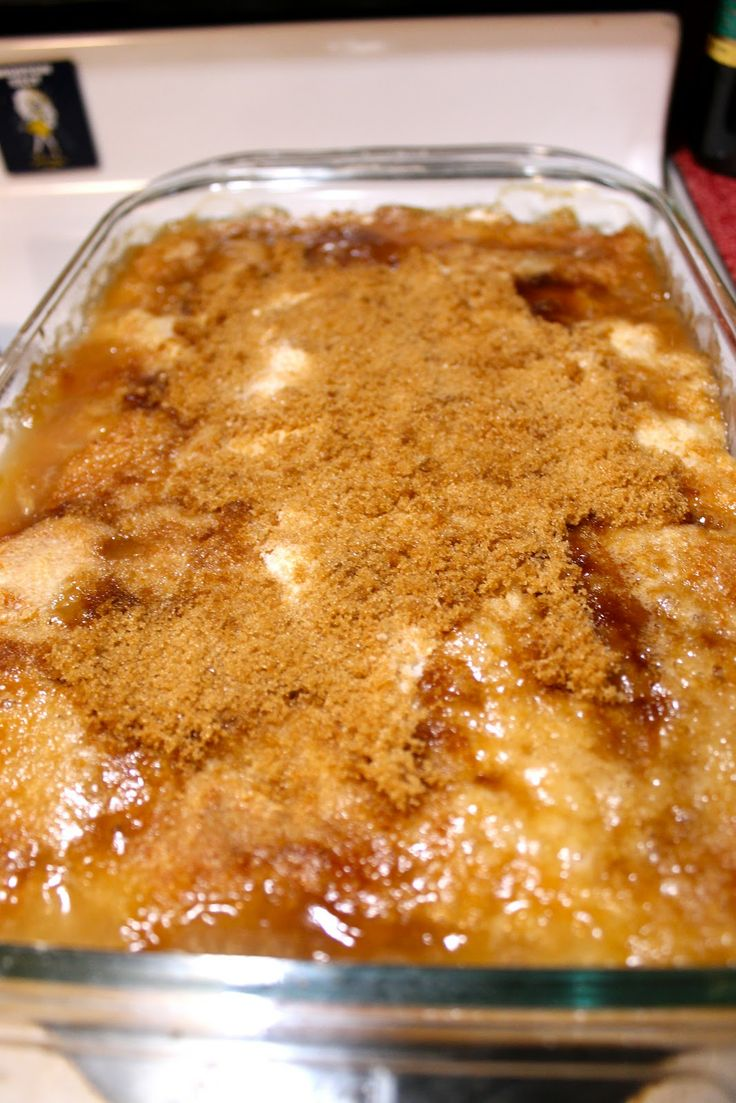 Peach Dump Cake ~ Canned peaches, yellow cake mix, 1 stick of butter, brown sugar.  3/18/13  with ice cream!
