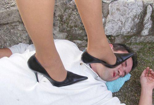 Trampling high heels
