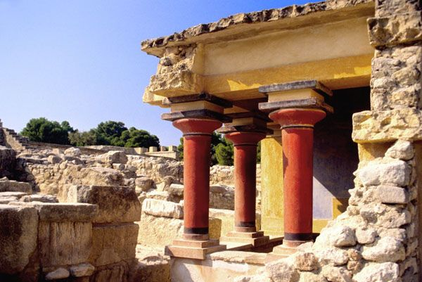 Greece (Crete) The ruins of the Palace of Knossos. Discovered in 1899 and partially reconstructed, the elaborate Palace is believed to be the mythical Labyrinth of King Minos and the seat of ancient Minoan culture.
