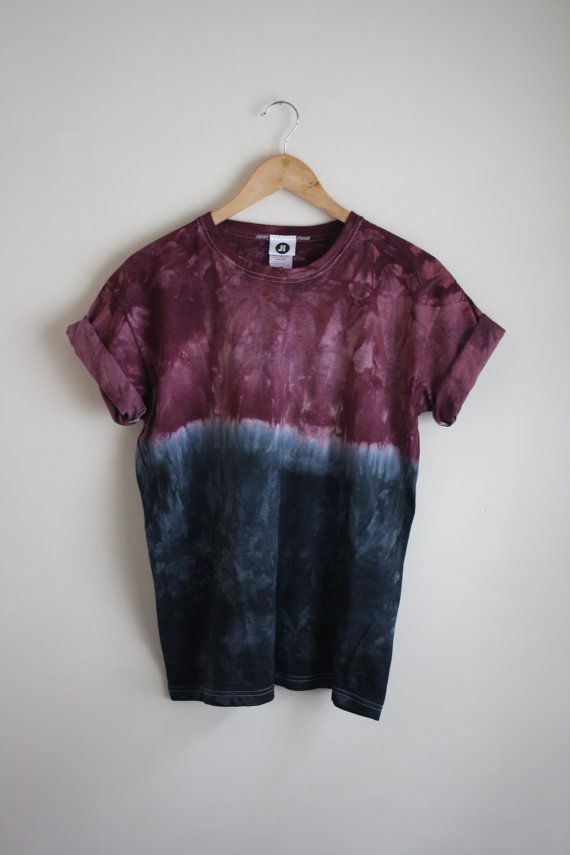 dip dye ombre tie dye t shirt unisex burgundy black shirts schnurbatik und f rben. Black Bedroom Furniture Sets. Home Design Ideas