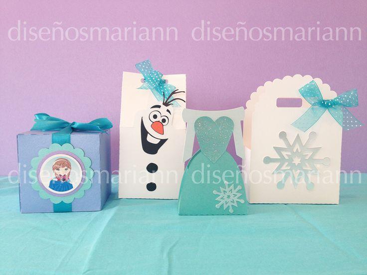 Kit de cajas para fiesta temática de Frozen. Para recuerdos o mesa de dulces.