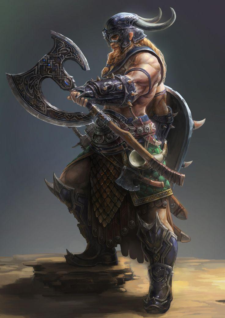 Bárbaro, guerreiro selvagem, machado, elmo com chifres, escudo!