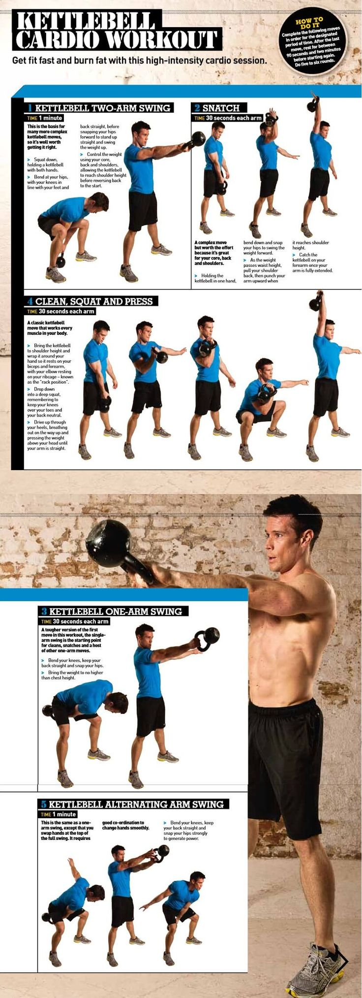 High Intensity Kettlebell Cardio Workout Infographic. Get fit fast and burn fat with this high-intensity cardio session The Kettlebell can burn heck of a lo