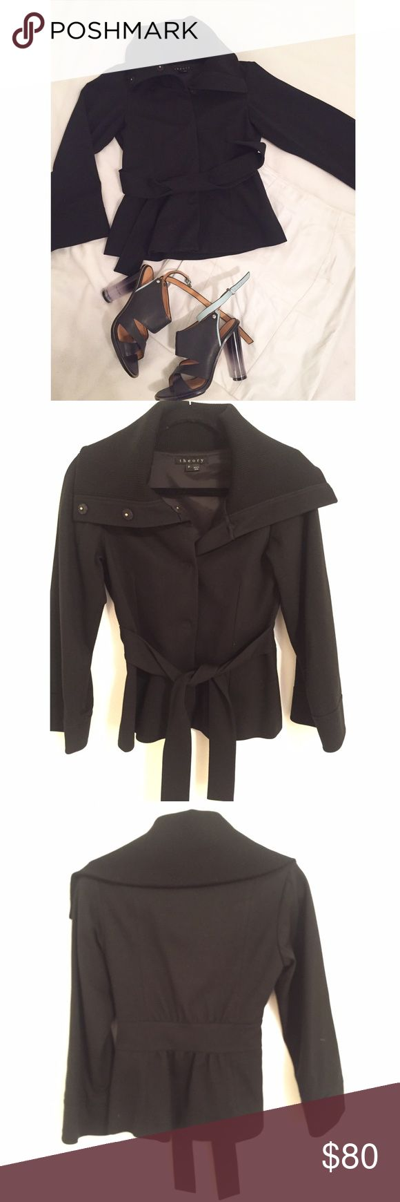 Theory black jacket with a belt Theory kimono style jacket with large collar. Perfect condition. Size only says P. I'm a size 4-6 and it fits me well. Theory Jackets & Coats