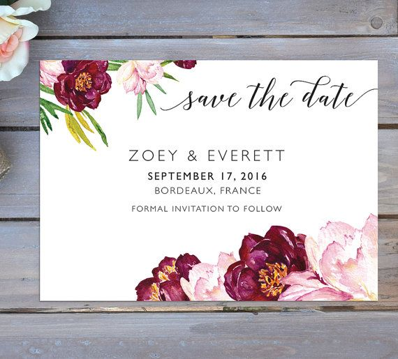 Burgundy Save The Date | Floral Save The Date | Bordeaux Save The Date | Maroon Save The Date | Printable Save The Date | Boho Save The Date