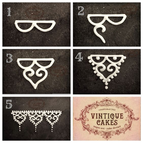 Mini vintage scrolled heart lace piping tutorial in Royal icing by Anita at Vintique Cakes