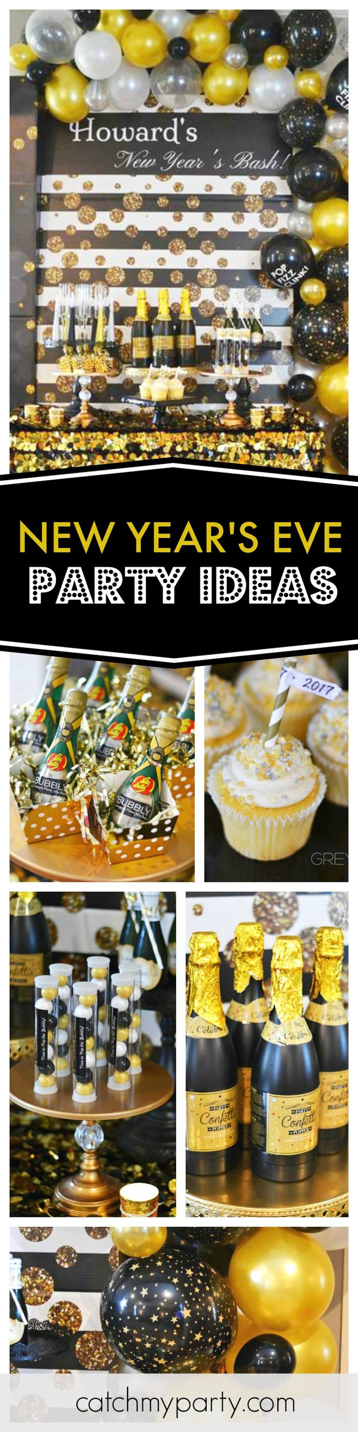 Wow!! What an glamorous New Year's Eve party. You do not want to miss this! Just love the colors and balloon decorations! See more party ideas and share yours at CatchMyParty.com