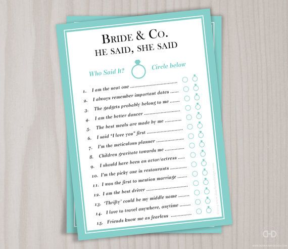 BRIDE & CO. HE SAID, SHE SAID GAME - Printable PDF (non-personalized)  This instant download will be an instant hit at your shower! Have your