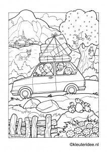 Op vakantie met de auto, kleurplaat op kleuteridee, on holiday by car, free printable coloringpage.