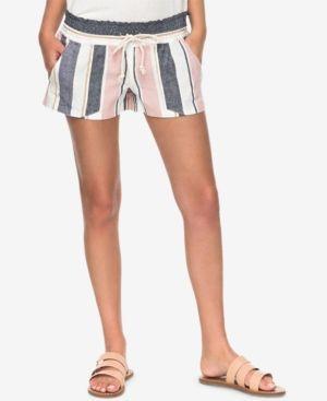 Roxy Juniors' Oceanside Striped Soft Shorts - Blue XL