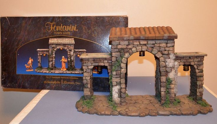 """RETIRED 1997 FONTANINI NATIVITY 5"""" SCALE LIGHTED TOWN GATE #50252"""