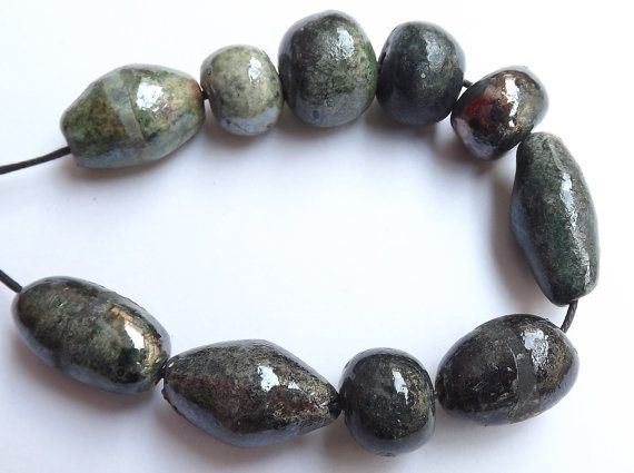 10 Ceramic beads glossy glaze bead raku by BlueBirdyDesign on Etsy, €10.00