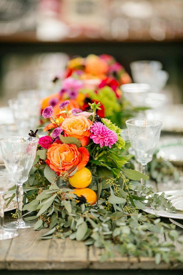 summer wedding inspiration - photo by Bamber Photography http://ruffledblog.com/summer-garden-wedding-ideas-in-chattanooga #tablerunner #weddingideas #colorfulwedding