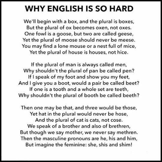 Why English is so Hard funny hard english language humor riddles english language tongue twisters