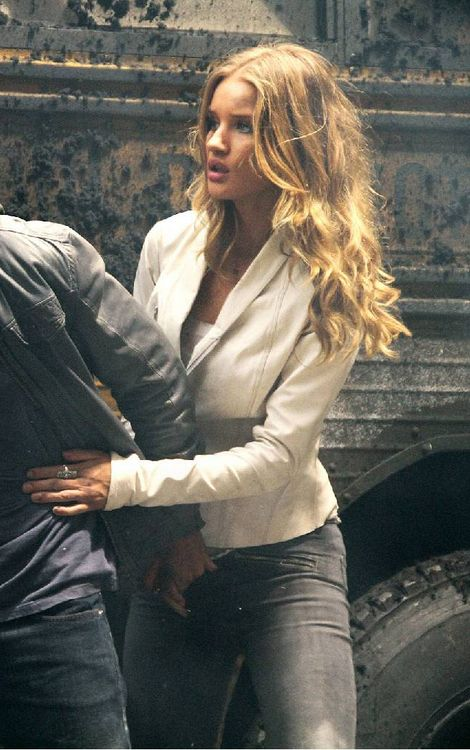 Rosie Huntington-Whiteley at Transformers 3 movie and Rick Owens Leather jacket