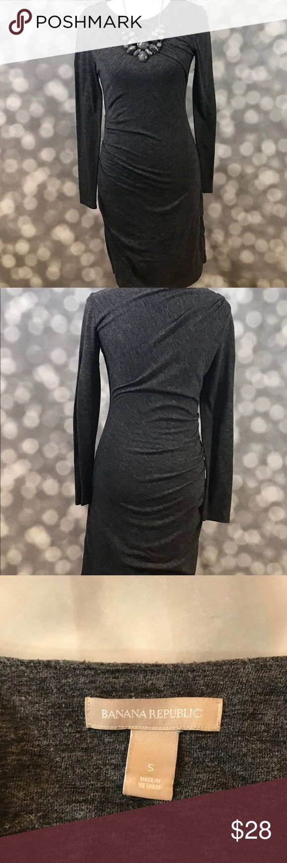 Long sleeve gray dress from Banana This dress is flattering AND forgiving. Great grey neutral for fall/winter. Ask me nicely and I'll throw in the necklace too:)😉 Banana Republic Dresses