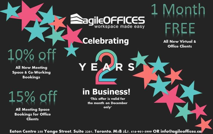 Today ‪#‎AgileOffices‬ is turning 2! Celebrate our 2 year anniversary with discounts 4 all clients! ‪#‎happyanniversary‬