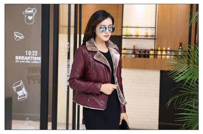 design shearling faux pu leather jacket women suede coat black lady outerwear pu coats short brand casual flocking clothes 422 - Goldmine Fashion