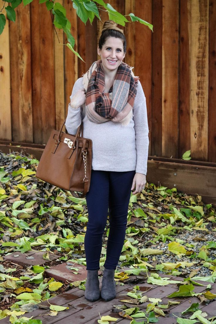 plaid scarf and marled pink sweater