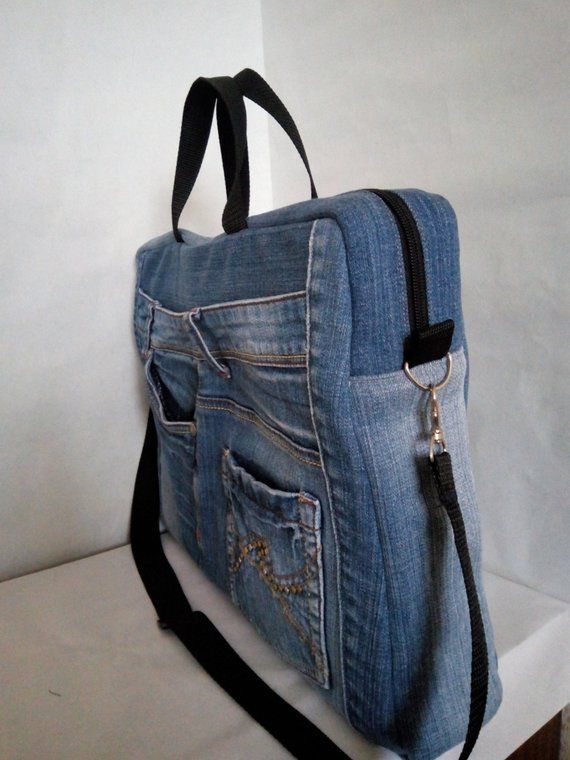 Laptop bag from recycled jeans Rigid shape and many pockets Trend 2019 – Вит… – Frauen Taschen